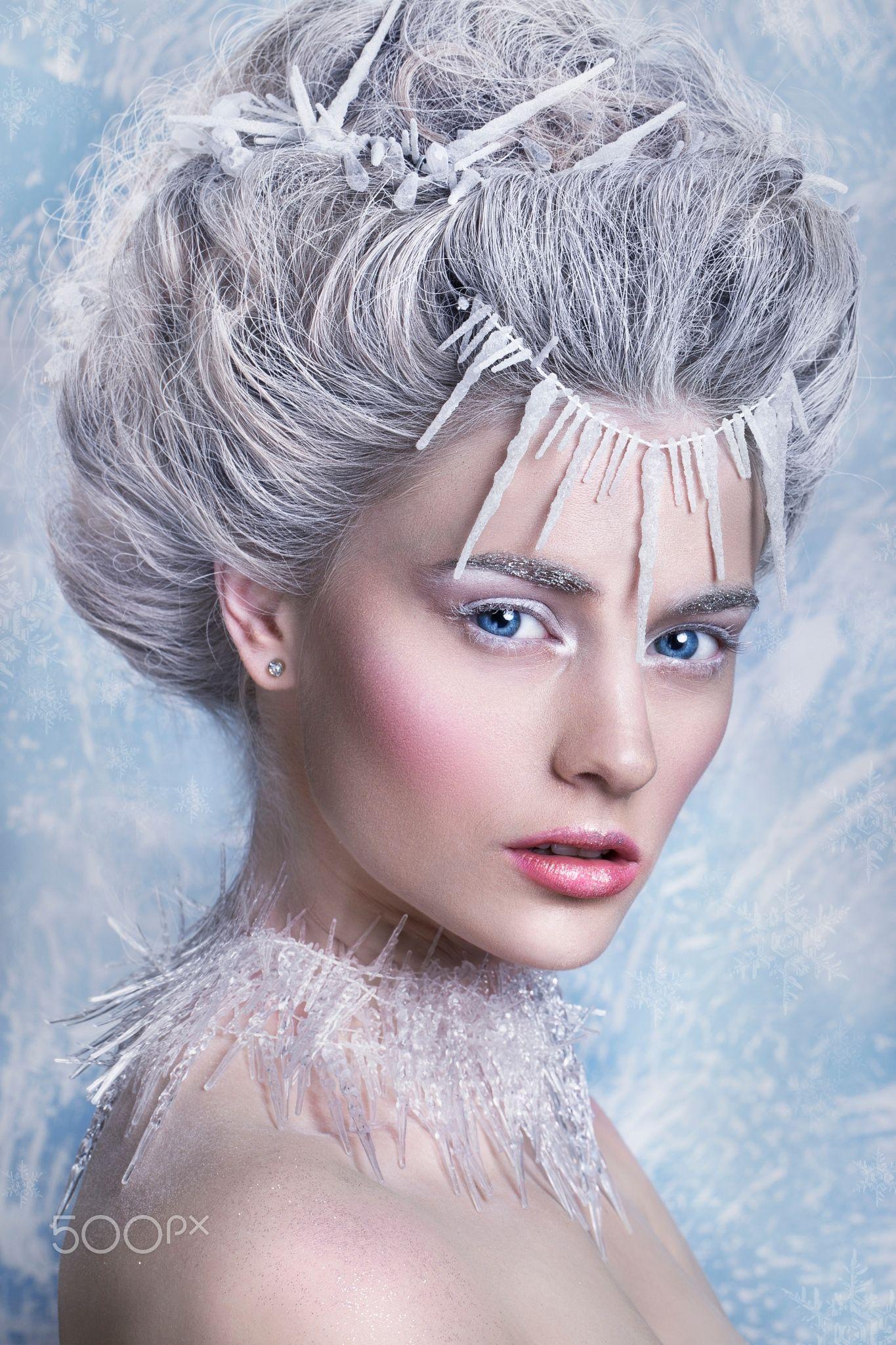 Snow Queen, creative closeup portrait. Young woman - Snow ...