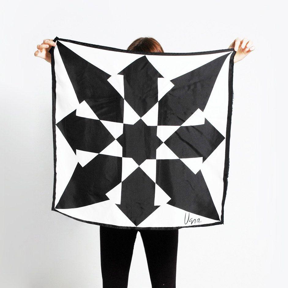 Vintage 60s Geometric ARROWS Black and White VERA Scarf