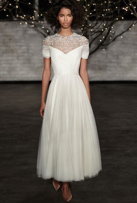 Tea Length Wedding Dresses with Sleeves for Older Brides