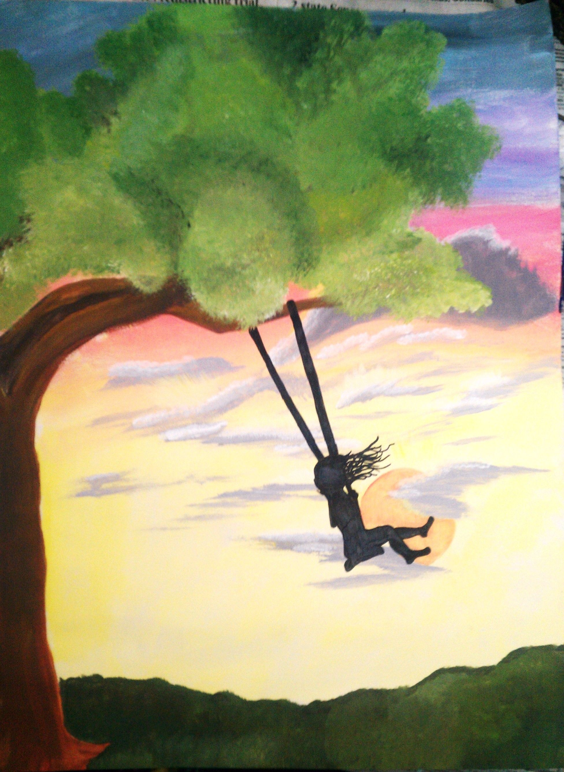 Girl Swinging On A Tree Silhouette By Kristine Euler