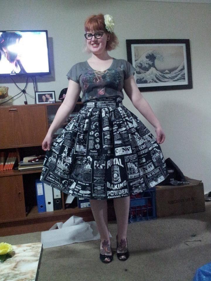 Simple Gathered Rockabilly Retro Skirt | Rock nähen, Rock und Nähen