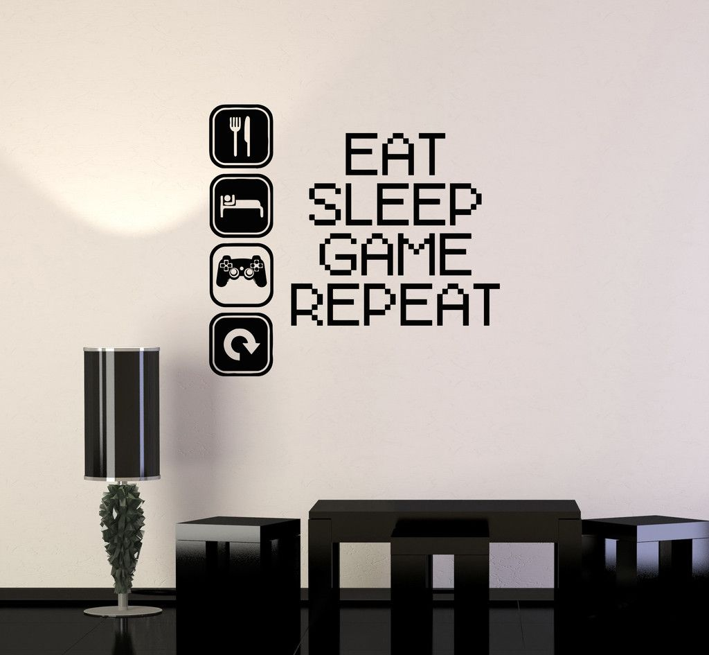 Vinyl Decal Gaming Video Game Gamer Lifestyle Quote Wall Sticker - Vinyl decals for the wall