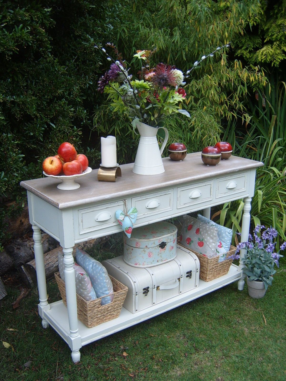 Shabby Chic French Country Cottage Style Cream Console Table