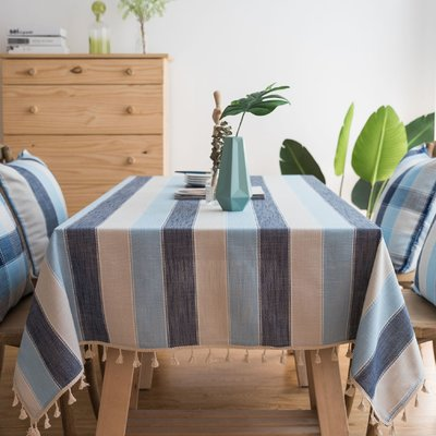 Highland Dunes Lainey Waterproof Stripe Polyester Tablecloth Size 55 L X 55 W Table Cloth Table Covers Tablecloth Fabric