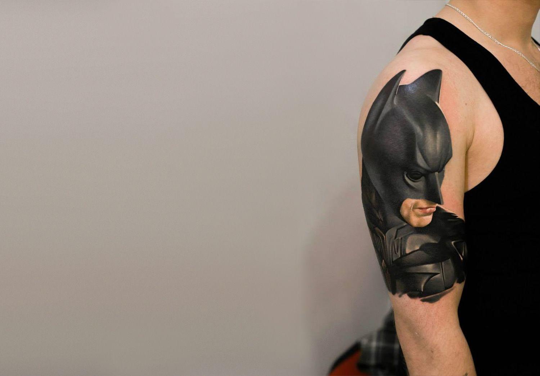 Flaming art tattoo for geek tattoo lovers this kind of batman - Photorealist Tattoo Of Batman On Arm By Denis Sivak