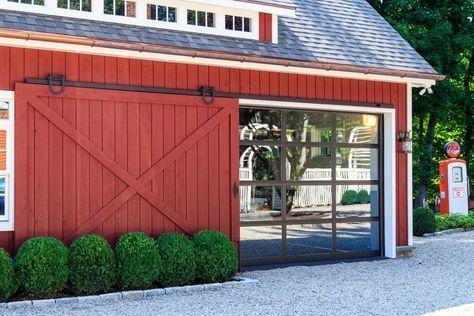 Sliding Barn Door Open Revealing Glass Garage Door Barn Door Garage Sliding Garage Doors Barn Doors Sliding