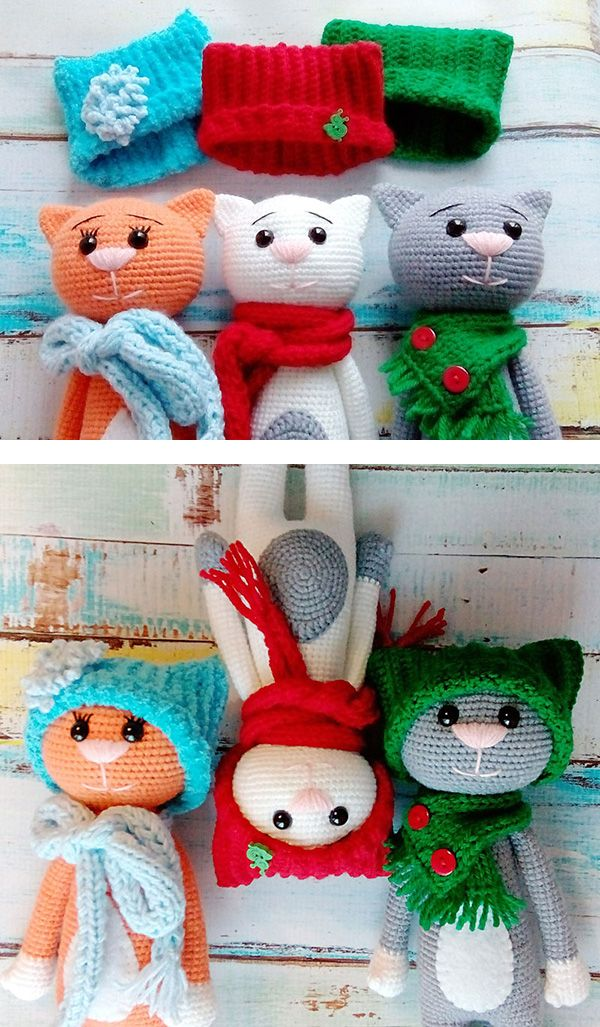 Funny amigurumi cats in hats FREE PATTERN Free