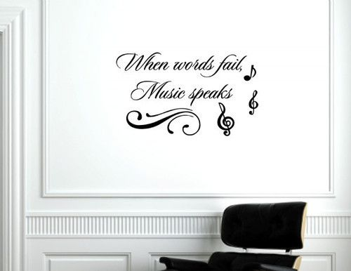 When Words Fail Music Speaks Vinyl Wall Decals Quotes Sayings