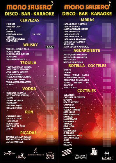Carta - Bar - discoteca | Restaurante | Pinterest | Discotecas, Bar ...