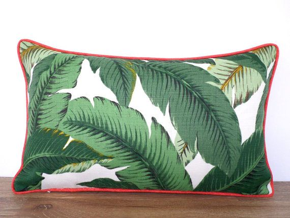palm leaf pillow cover in outdoor
