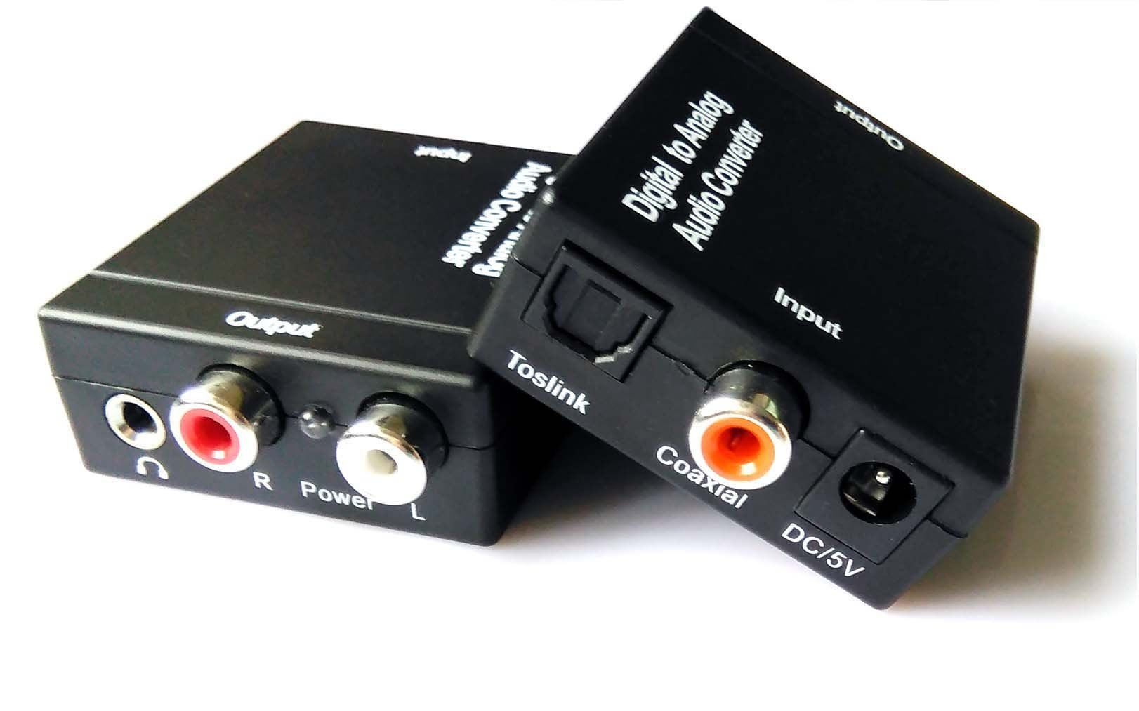 Easyday Digital To Analog Audio Converter With Digital Optical Toslink And S Pdif Coaxial Inputs And Analog Rca And Aux 3 5mm Hea Audio Ideas Digital Converter