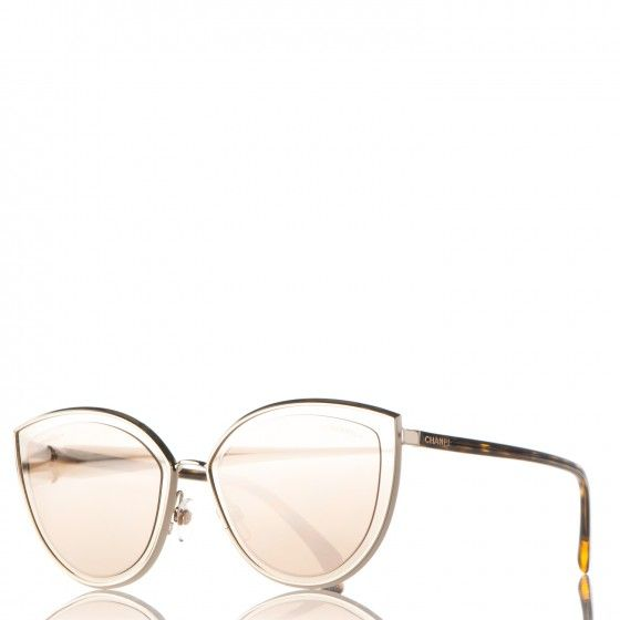 6feded0255 Image result for CHANEL 18K Gold Metal Cat Eye Sunglasses 4222 Gold ...