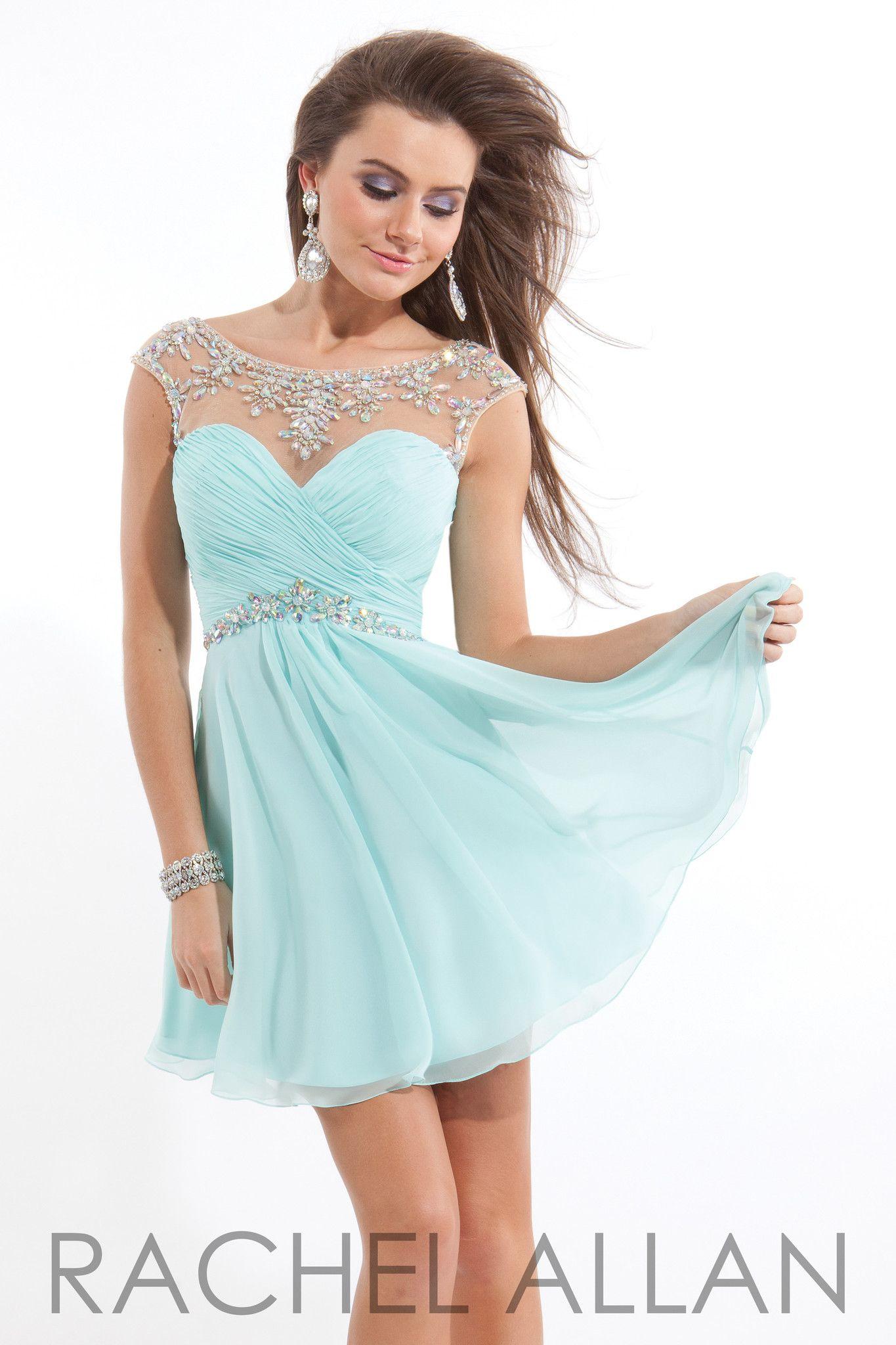 Rachel Allan 6635 Mint Silver Homecoming Dress | Prom Dresses ...