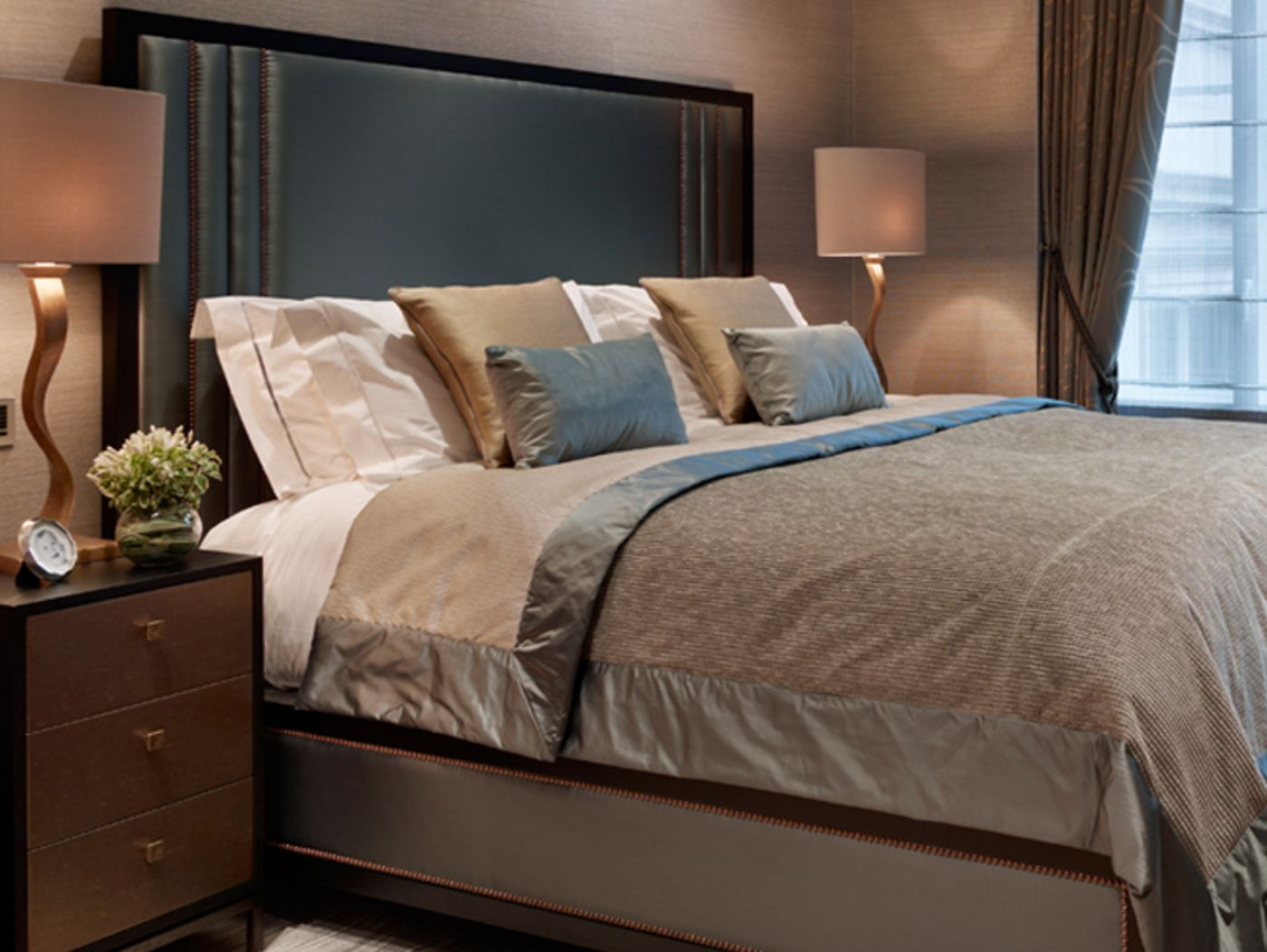 Hepburn headboard and frame in Raven Walnut with French