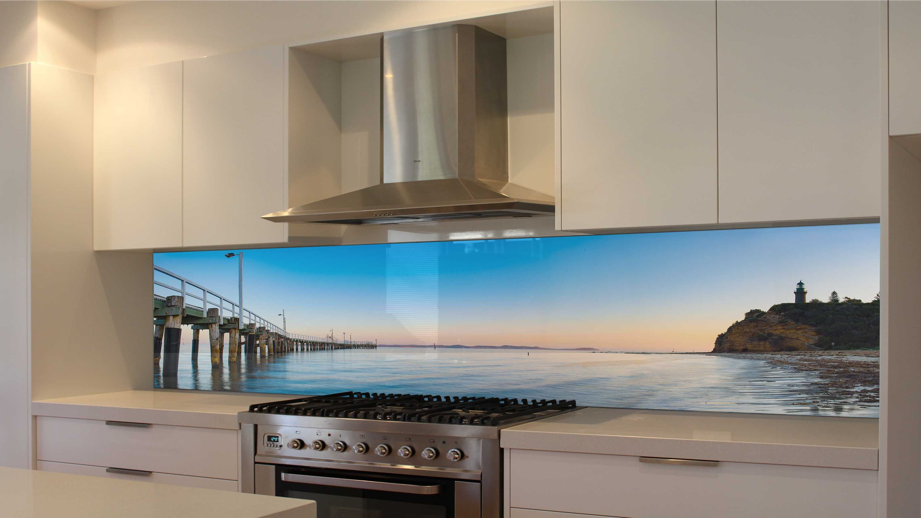 GraphXglass - Printed Kitchen Glass Splashbacks - Queenscliff Old Pier -  The Rip - Port