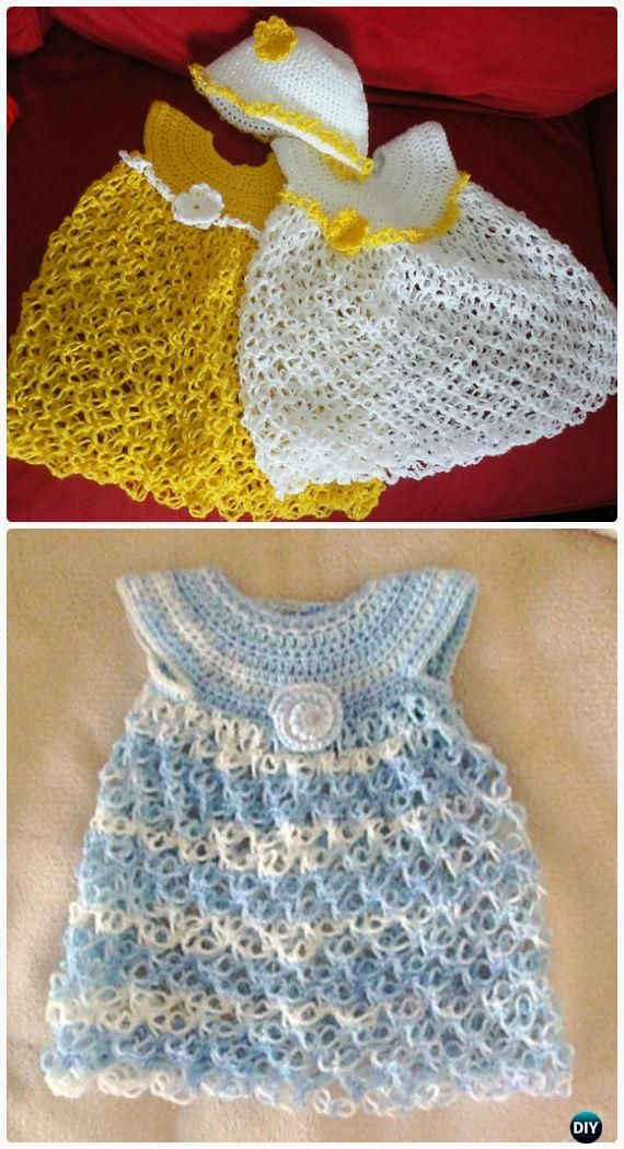 Crochet Girls Dress Free Patterns & Instructions | Salomón, Crochet ...