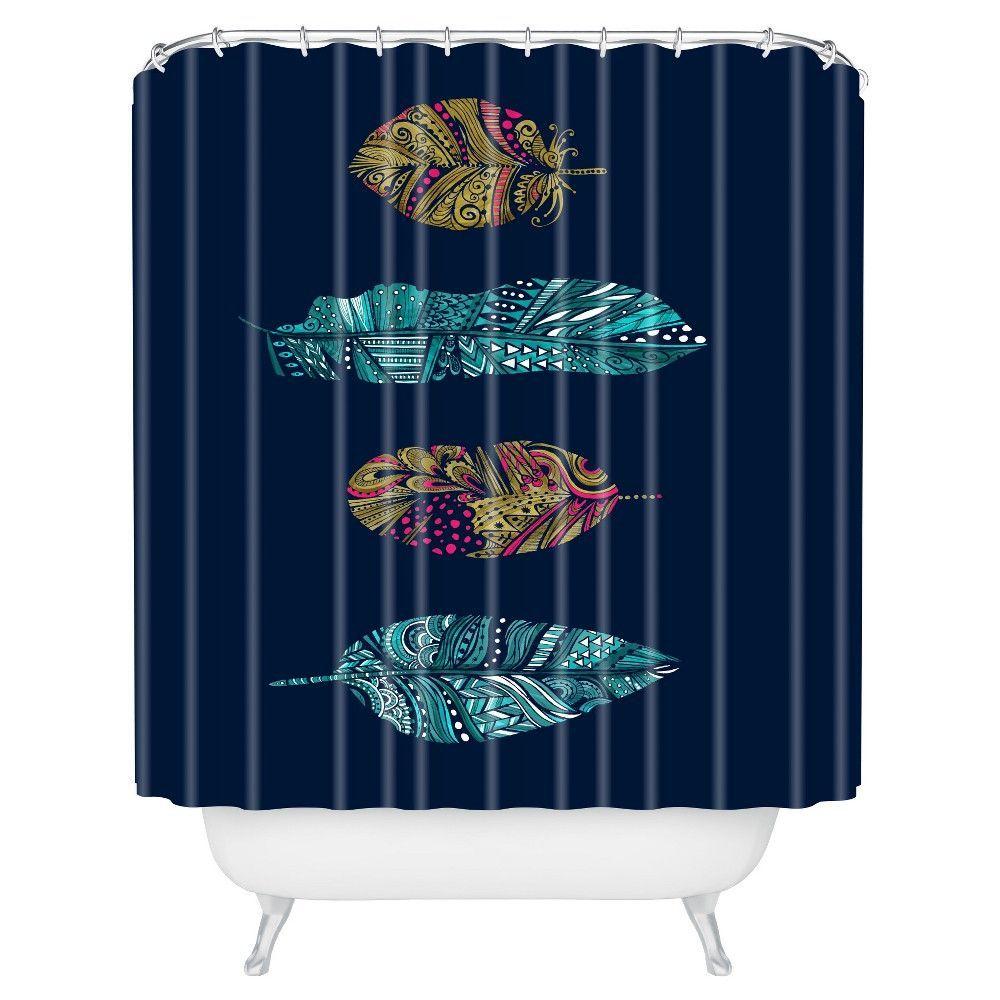 Stephanie Corfee Doodle Feather Shower Curtain Navy Deny Designs