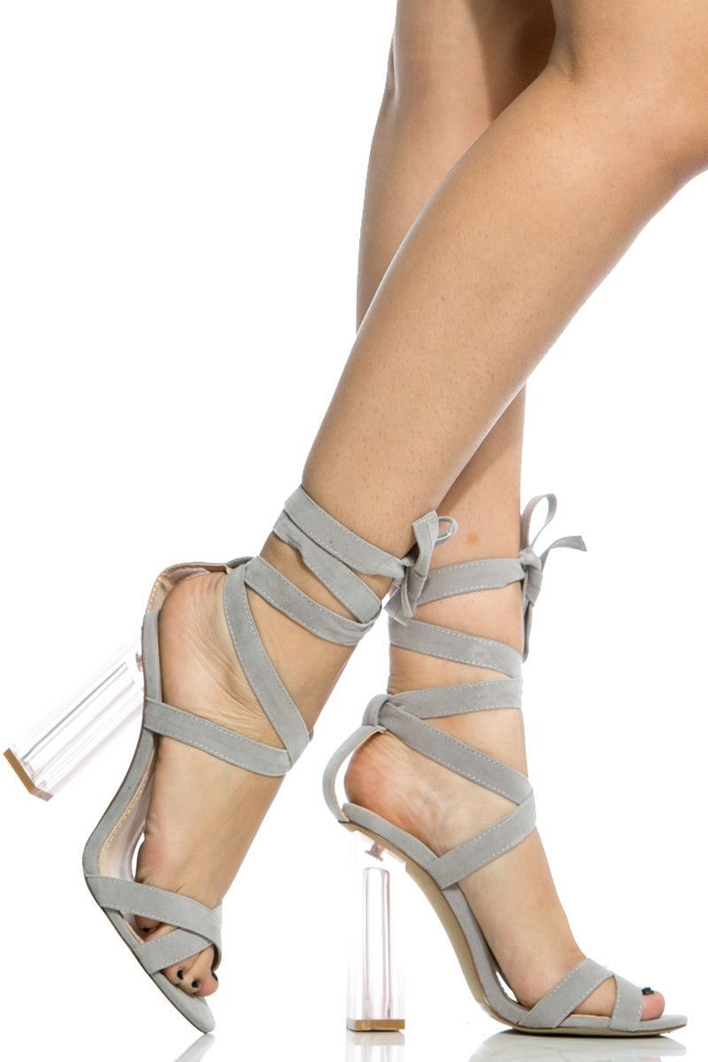 c5ec11a5ade Grey Faux Suede Chunky Wrap Around Translucent Heels. Grey Faux Suede Chunky  Wrap Around Translucent Heels Red High Heel Shoes