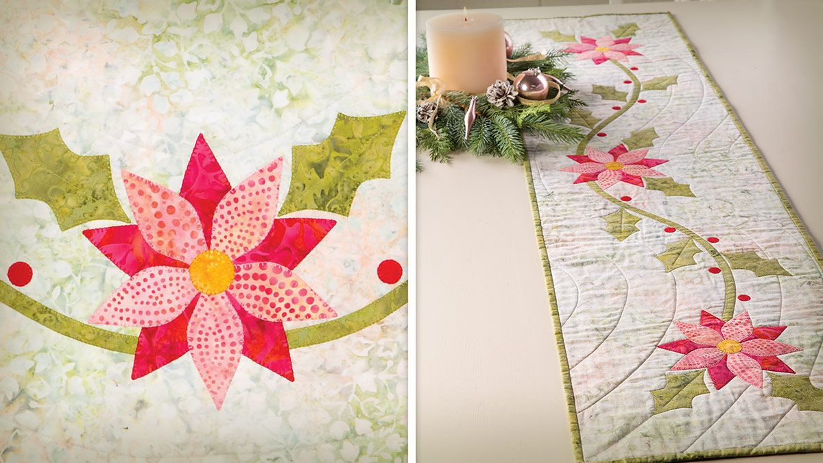 Holiday Florals Table Runner Episode And Pattern From Annie S Creative Studio Holiday Floral Table Runners Creative Studio
