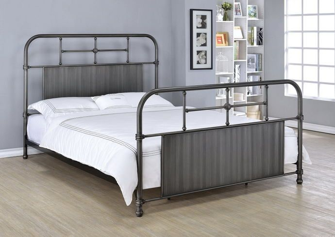 Ivey collection antique black finish metal frame headboard footboard ...