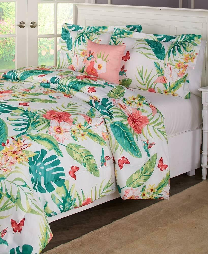Colorful Flower Colorful Comforter Sets Bedroom Spring Bedding Full Queen King Ebay Wall Decor Bedroom Comforter Sets Tropical Home Decor