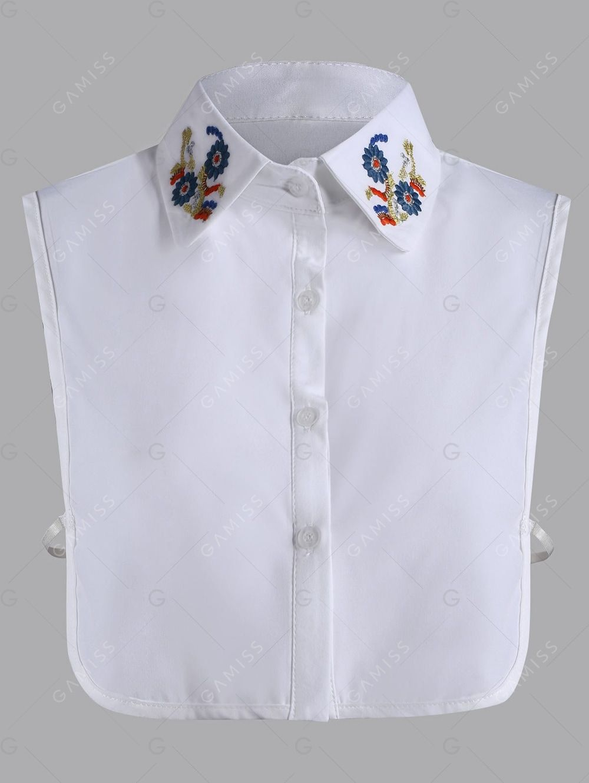 Flower Embroidered Plus Size False Shirt Detachable Collar Fefu