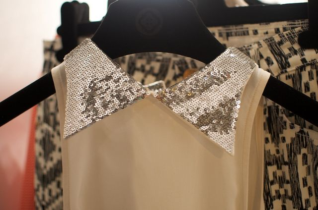 diy inspiration sequin collar..would be fun on a faded denim shirt or button up in winter