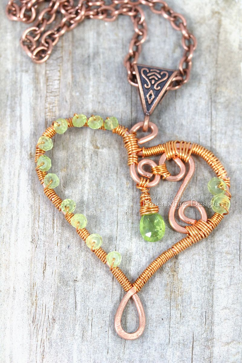 Wire wrapped heart pendant in copper wire with peridot birthstone ...