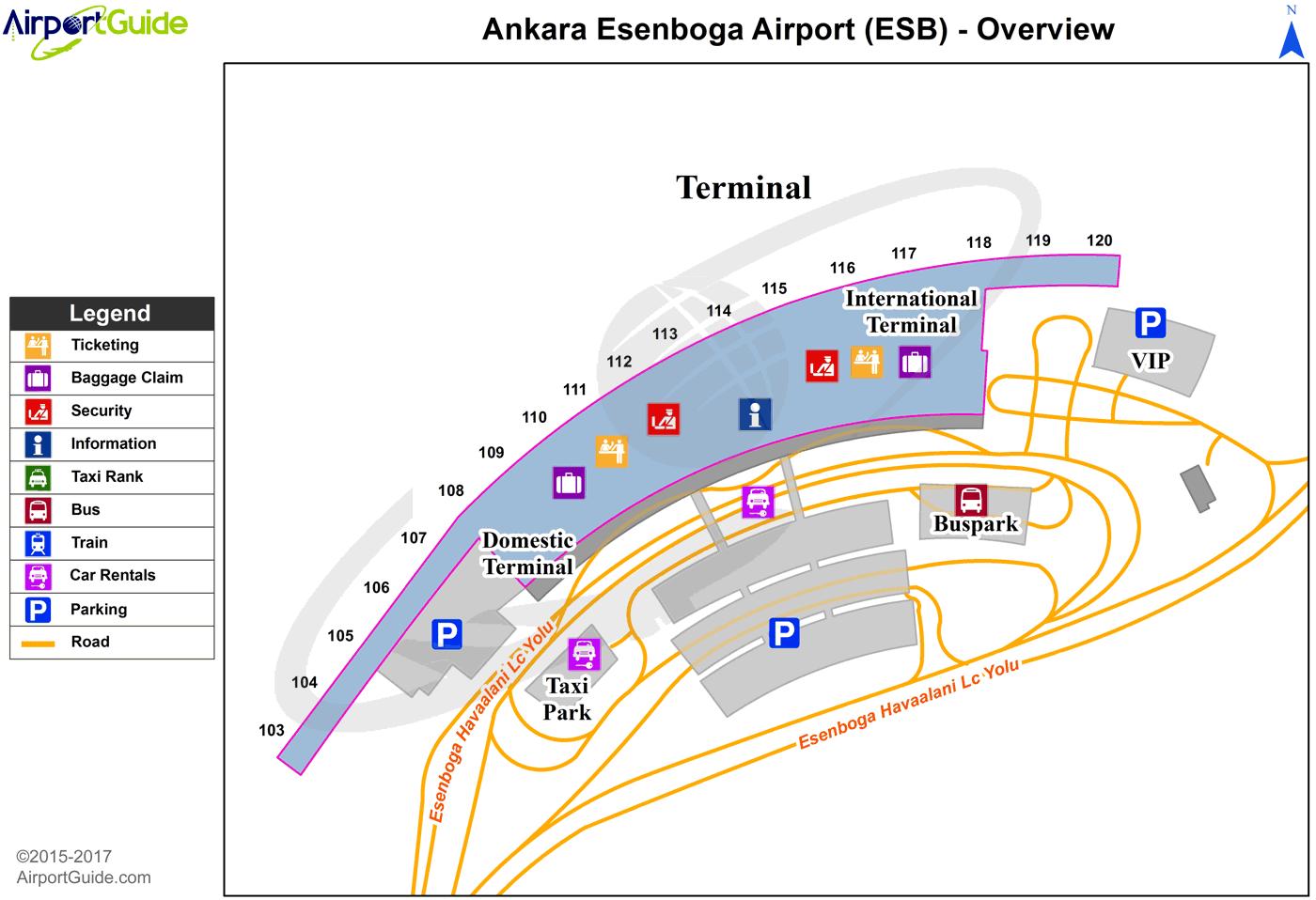 ankara - esenboğa international (esb) airport terminal map