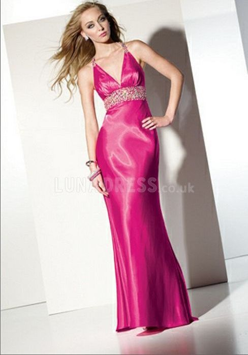 Awesome Silk Like Satin Floor Length V Neck Empire Sweep Train Prom ...