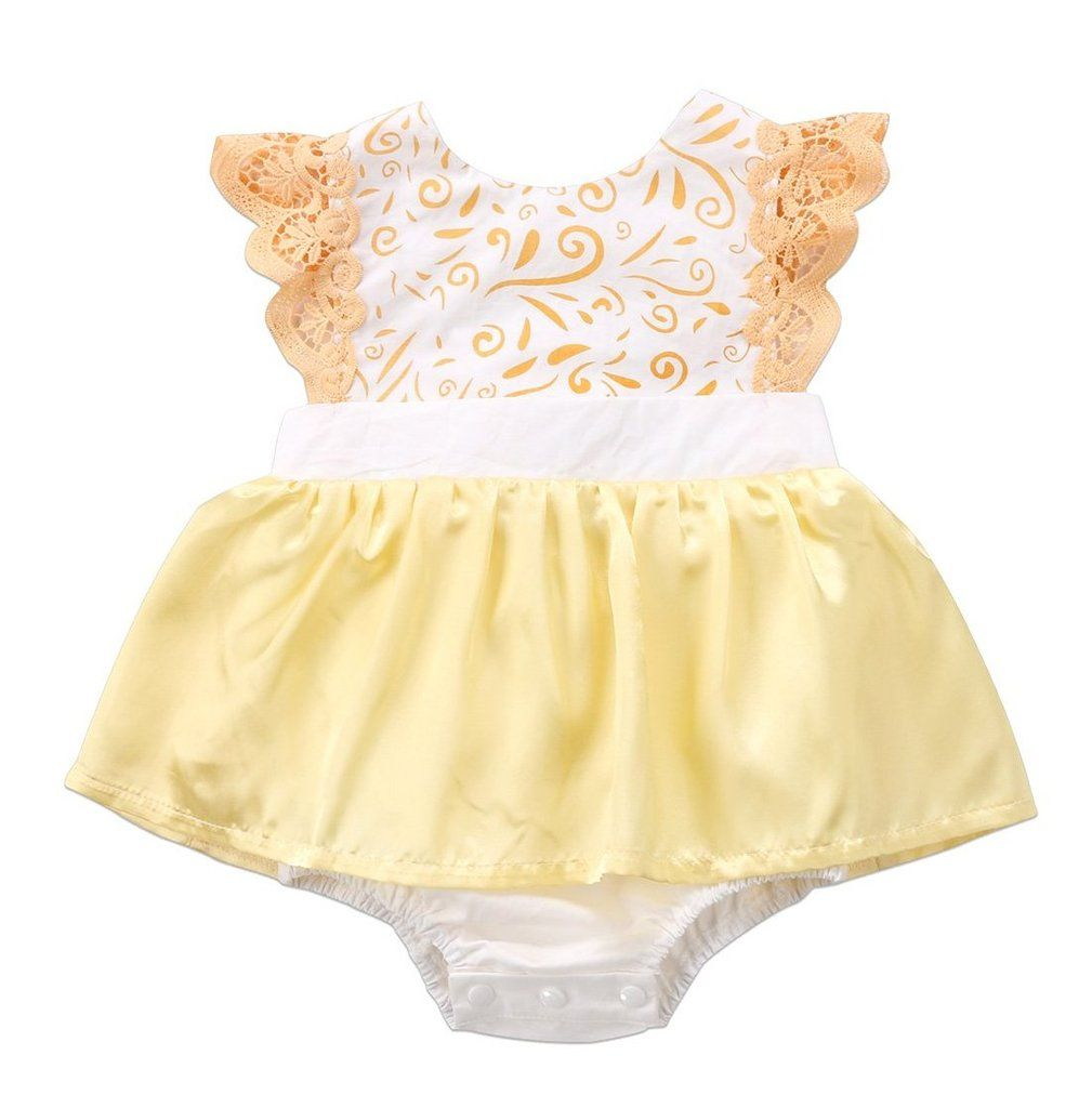 Lace dress for baby girl  Pretty Yellow Baby Girl Summer Dress  Babies and Babies clothes