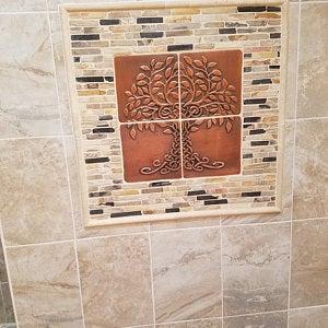 Tree Of Life Backsplash Kitchen Backsplash 20 Tiles Design Backsplash Tiles Silver Tiles Copper Tiles In 2020 Copper Decor Etsy Wall Art Handcrafted Tile