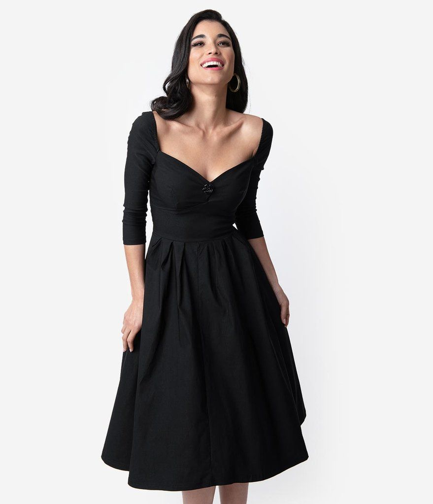 ff271a519e93 Unique Vintage 1950s Style Black Bengaline Sweetheart Lamar Swing Dress