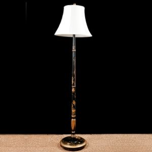 English Floor Lamp with Chinoiserie in Polychromed Wood