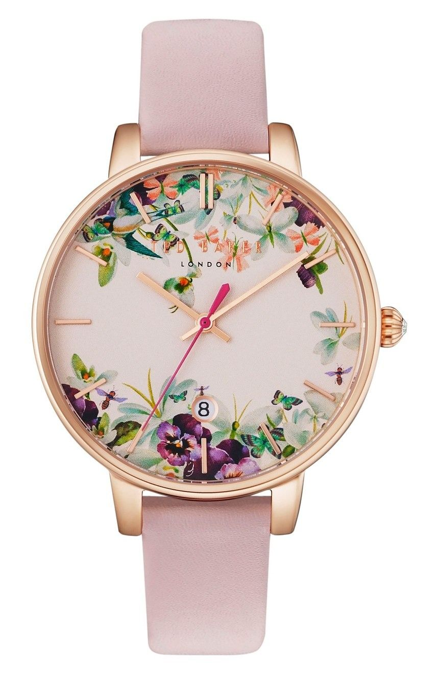 91734ca6aa82 Adoring this floral Ted Baker London watch with a pink strap and rose gold  details.