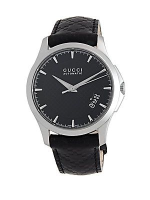Gucci G-Timeless Stainless Steel & Leather Strap Automatic Watch - Bla
