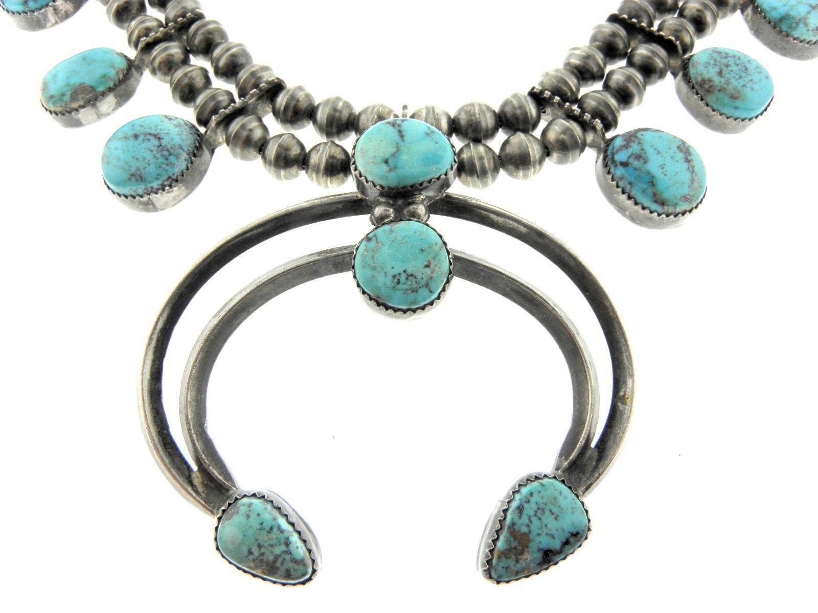 Handmade Navajo Tony Guerro Sterling Silver Amp Turquoise Squash Blossom Necklace | eBay