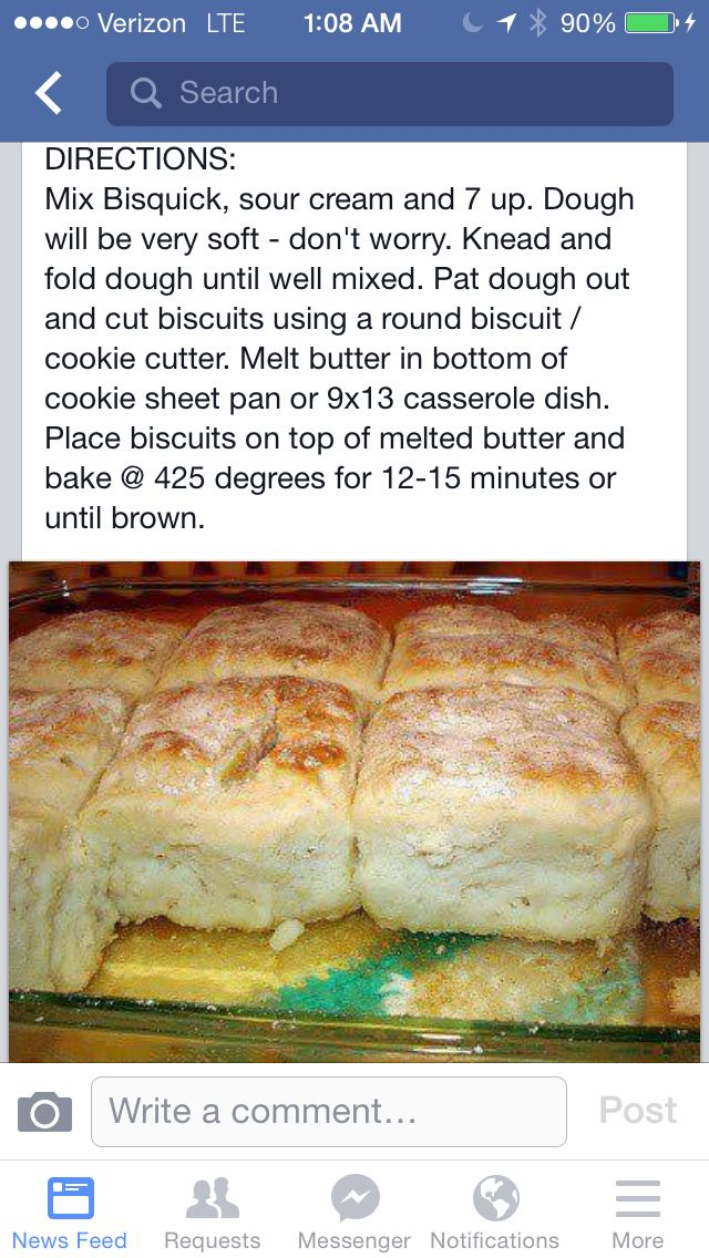 7-UP BISCUITS 4c biscuick, 1 c 7-up, 1/2 c butter, 1 c sour cream