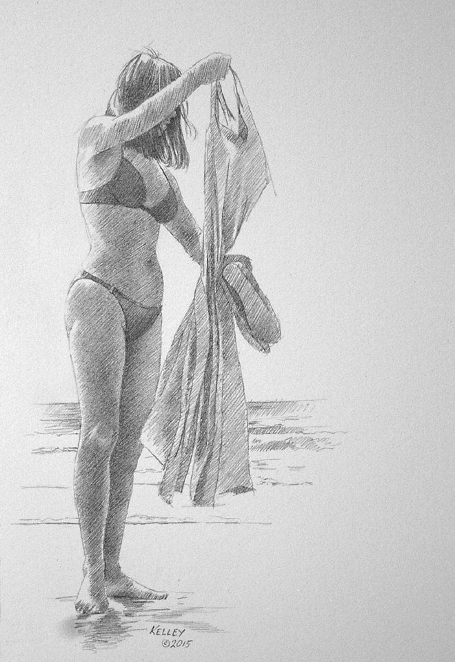Beach Girl Holding Sundress   Paul Kelley