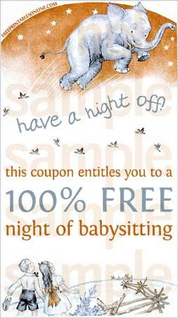 image about Printable Babysitting Coupon titled Include a Night time Off Printable Babysitting Voucher Moms