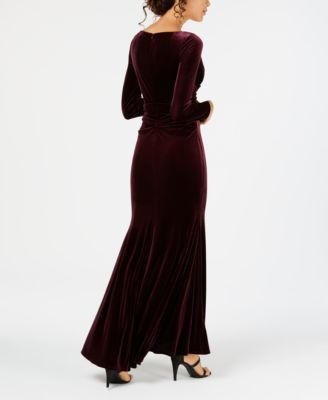 a46b8991d75e Vince Camuto Long-Sleeve Draped Velvet Gown - Red 4