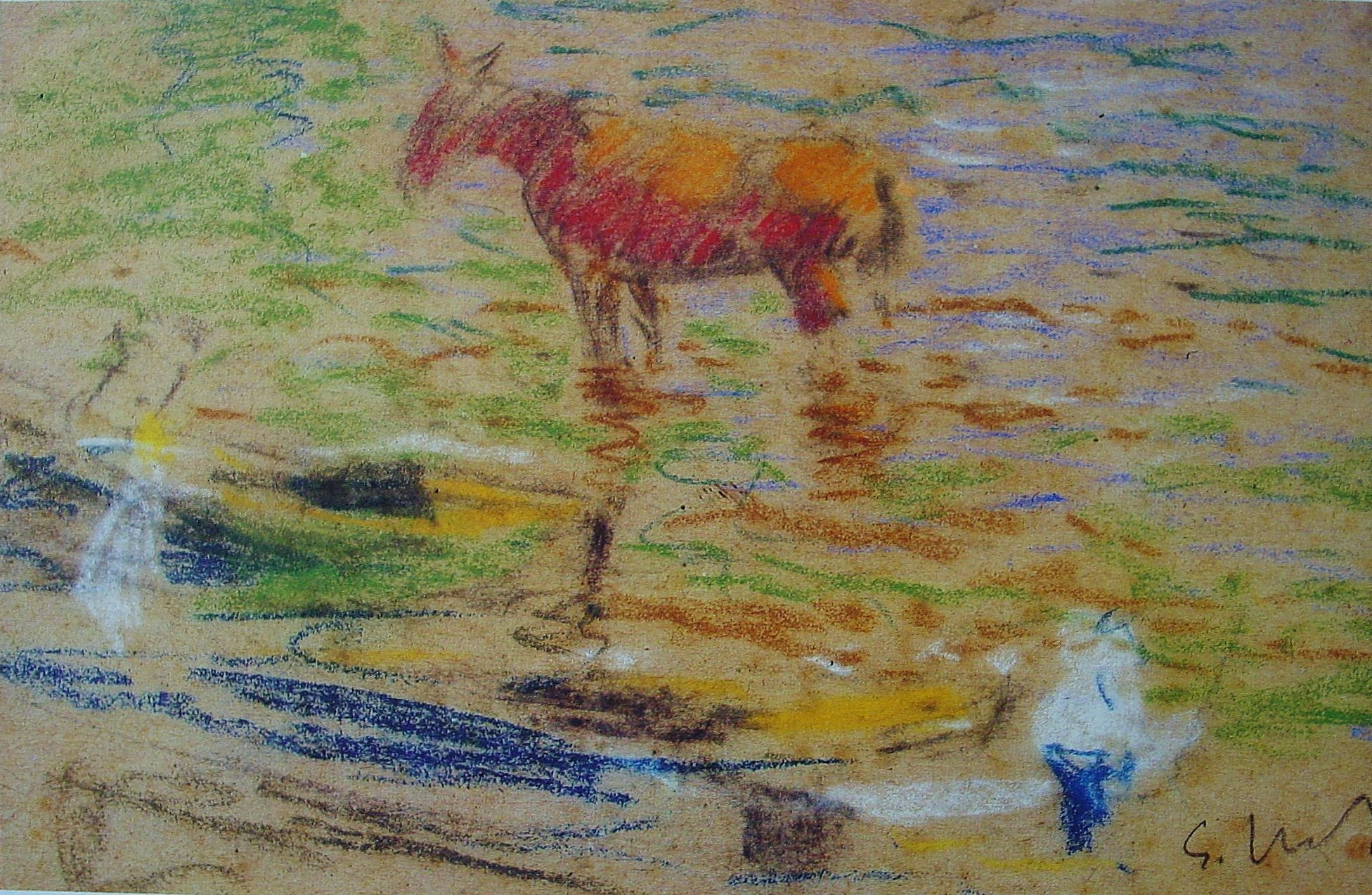 Eliseo Meifrén Roig. Caballo en la playa. Dibujo al pastel sobre papel. Firmado. 19,5 x 27 cm. Ausa, p. 410.
