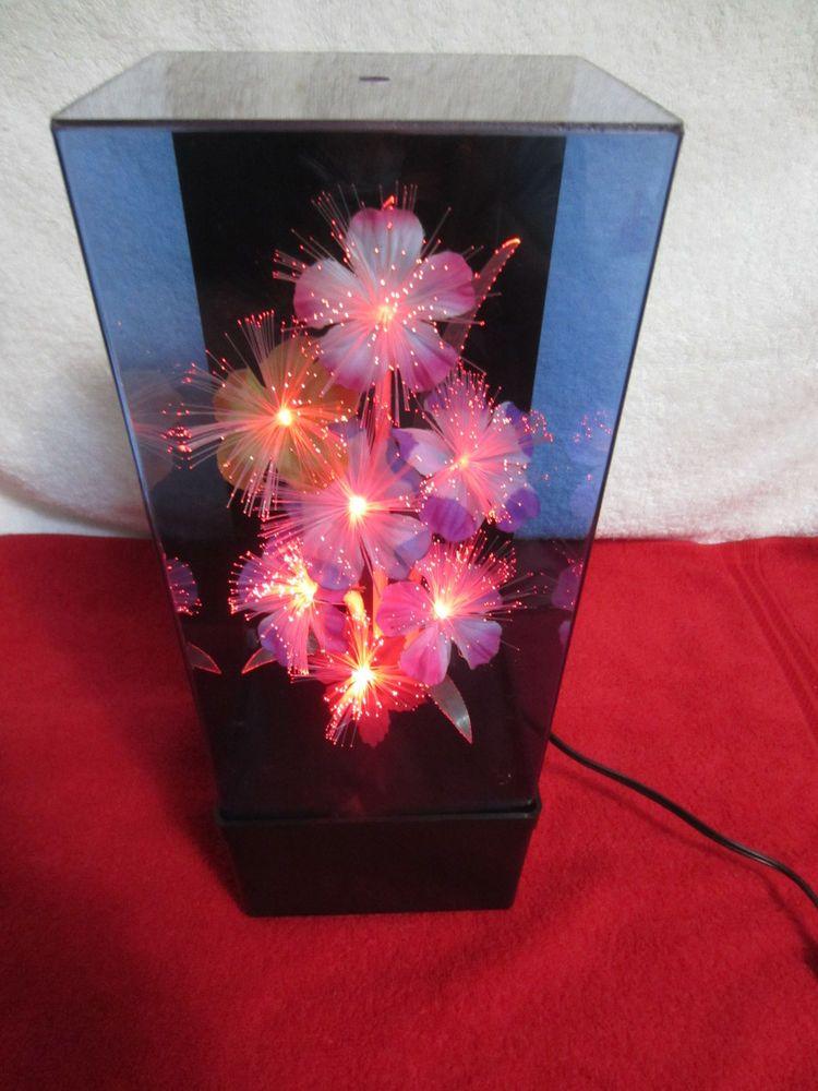 Vtg 80 S Fiber Optic Light 14 Flower Lamp Color Changing W Wind Up Music Box