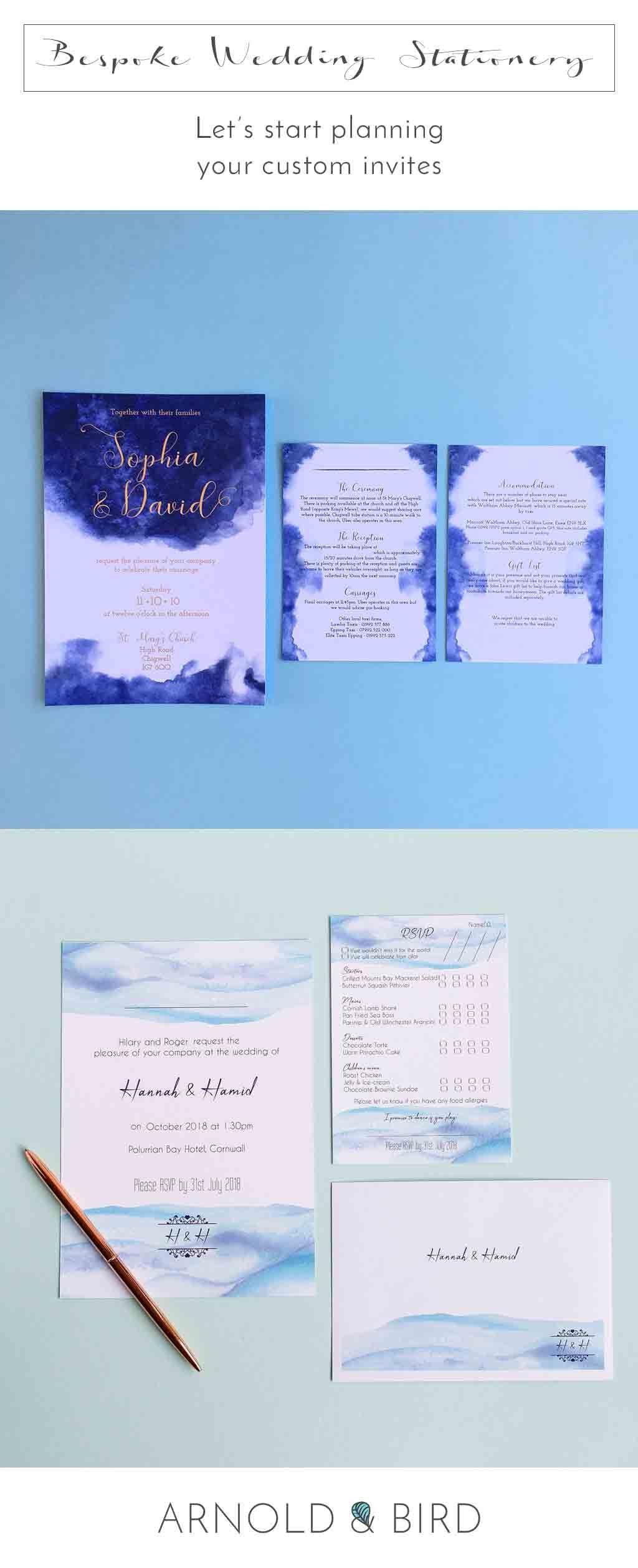 Bespoke Wedding Stationery Invites Personalised Invitations &