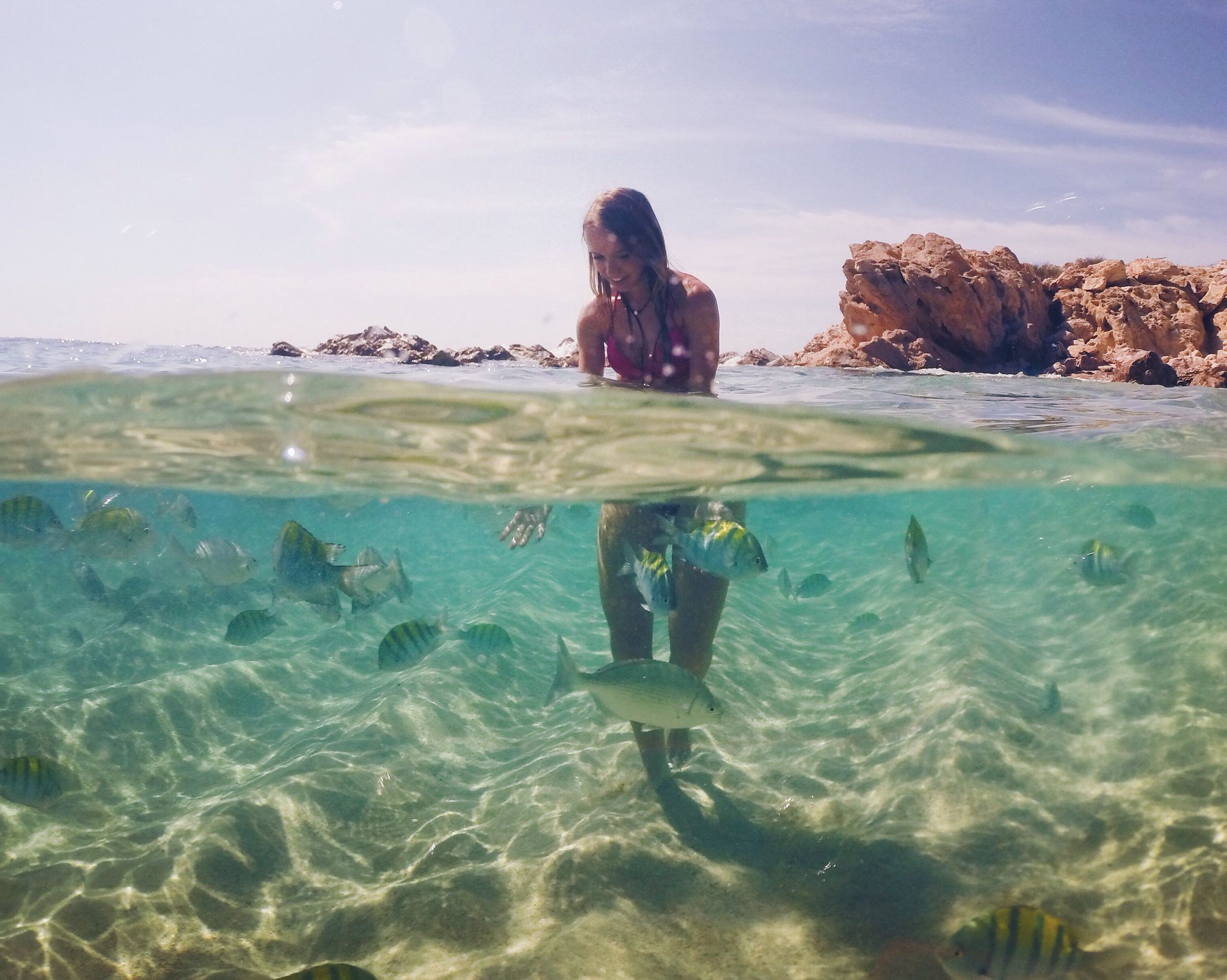 Crystal clear water in Chileno Beach in San Jose del Cabo Mexico