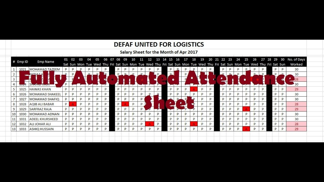 how to make attendance sheet in excel automated attendance sheet