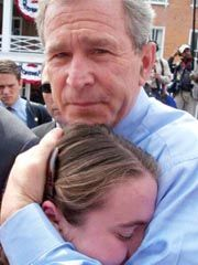 George W. comforting a girl who lost her mom in the World Trade Center on 9-11. || I think for a lot of people personally touched by 9/11, there was a sense that President Bush really understood their pain & to a certain degree experienced it along with them.  He also comforted people with his quiet resolve in confronting the enemies of America who perpetrated the attacks.