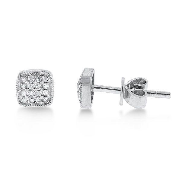 KC Designs 14k Gold Cushion Shape Pave Diamond Post Earrings (Style #: E13232) #SkatellsGreenville #SkatellHer