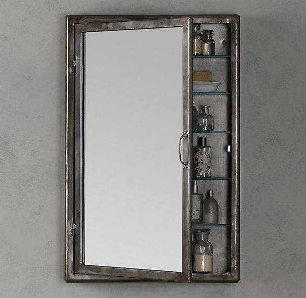 RH inset Pharmacy Wall Mount Medicine Cabinet in brushed steel ...