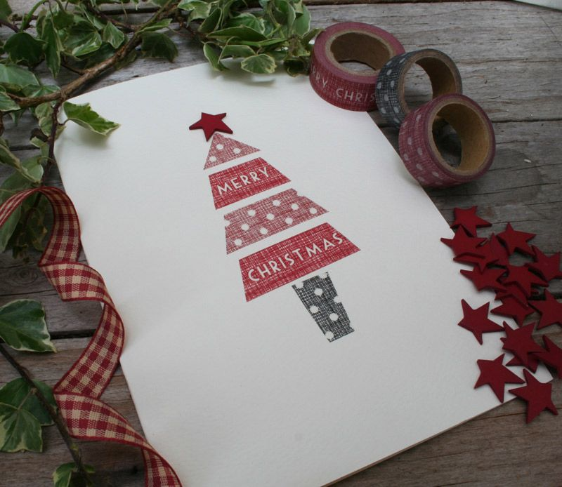 make stylish inexpensive Christmas cards using this washi style tape ...